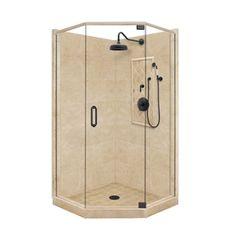 American Bath Factory Panel Medium Fiberglass and Plastic Neo-Angle Corner Shower Kit (Actual: x x Lowe's Bathtub Enclosures, Shower Enclosure, Corner Shower Kits, Small Shower Remodel, Weathered Furniture, Shower Panels, Bathroom Fixtures, Bathroom Tiling, Lowes Home Improvements
