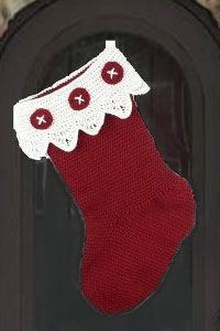 Use inexpensive yarn to crochet a large stocking for your front door. This crochet stocking pattern features a lace top and crochet button embellishment. Crochet Christmas Stocking Pattern, Crochet Stocking, Crochet Santa, Holiday Crochet, Free Crochet, Irish Crochet, Free Knitting, Knitting Patterns, Christmas Knitting