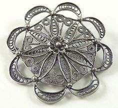 Vintage 925 Sterling Silver Spiral Scroll Dot Floral Pin Brooch