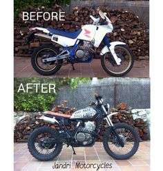 Honda Dominator 650 - Before & After - Scrambler - Cafe Racer Motorcycle Memes, Motorcycle Wear, Motorcycle Patches, Motorcycle Luggage, Motorcycle Design, Motorcycle Style, Bike Design, Motorcycle Stickers, Honda Dominator
