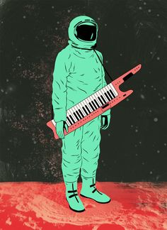 MTV Moon Man with Keytar in Outer Space.