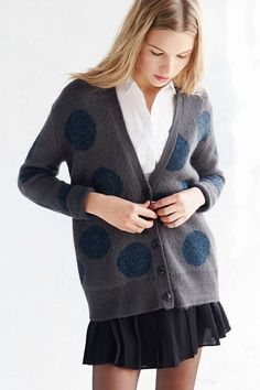 A cardigan with giant polka dots for $29.99.