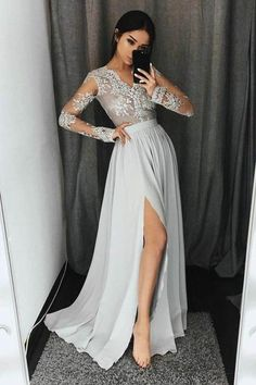 Sale Luxurious Prom Dresses Long Stylish A-Line V-Neck Long Sleeves Split Front Gray Chiffon Long Prom Dresses Uk Grey Evening Dresses, Grey Prom Dress, Evening Dresses With Sleeves, Prom Dresses Long With Sleeves, A Line Prom Dresses, Cheap Prom Dresses, Prom Party Dresses, Dress Long, Evening Gowns