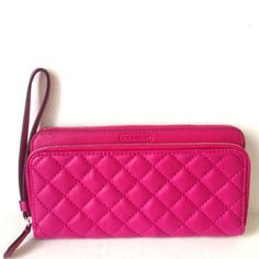 Park Quilted Double Zip Around Wallet by Coach  ◾Soft Quilted leather ◾Credit card and multifunction pockets ◾Full-length billfold compartments, Zip coin pocket ◾Double Zip closures, Outside open pocket, Wrist strap is attached ◾7 3/4″ (L) x 4 1/2″ (H)