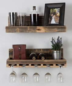 Look at this Reclaimed Wood Floating Wine Rack Set on #zulily today!