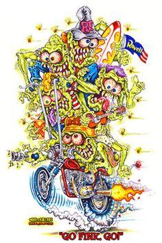 Johnny Ace RARE Poster! RAT FINK Big Daddy ROTH Monster TRIUMPH MOTORCYCLE OOP!! #JohnnyAceStudiosRothStudios