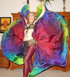 Sahariah's Silk Belly Dance Veils Original Killer Moths 2 8MM Half Circle Veils, Silk Wings, or Killer Moth Poi PLEASE READ by SilksbySahariah on Etsy