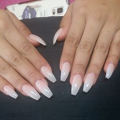 Killer set of ballerina/coffin nails with nyde gelish 36 only 1 coat of gel to creat this.♡