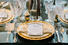 This royal place setting was designed and planned by Gold Dust Vintage Rentals. #bridesofnorthtx #placesetting