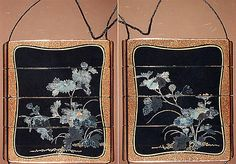 Case (Inrô) with Design of Flowering Chrysanthemums with Brocade Borders  Period: Edo period (1615–1868) Date: 18th–19th century Culture: Japan Medium: Lacquer, roiro, nashiji, hirame, aogai, gold foil inlay; Interior: fundame