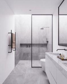 Minimal Interior Design Inspiration, modern bathroom design with modern shower, neutral gray bathroom decor Bathroom Design Luxury, Bathroom Layout, Modern Bathroom Design, Bathroom Ideas, Bathroom Vanities, Bathroom Renovations, Minimalist Bathroom Design, Ensuite Bathrooms, Luxury Bathrooms