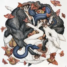 Lauren Marx, Fall Apart Like Me, 2016. Ballpoint Pen, Ink Pencils, Graphite, Colored Pencils and Gel Pen on Mixed Media Paper, 20 inches by 20 inches (23 inches by 23 inches framed).