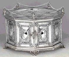 antique silver matzoh holder for Passover