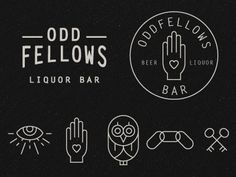 Initial identity development for a new bar opening in the short north district of Columbus. The Oddfellows have some really weird symbols. They're fun to draw. Liquor Bar, Odd Fellows, Design Art, Graphic Design, Brand Identity Design, Powerful Words, Owls, Streetwear, Typography
