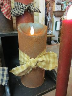 "Primitive Electric Candelabra Socket Moving Flame 3.5/"" Candle Bulb Mustard"