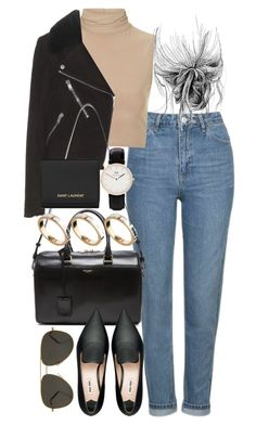 """""""Untitled #3926"""" by lily-tubman ❤ liked on Polyvore featuring Topshop, Rare London, Yves Saint Laurent, Miu Miu, ASOS and Daniel Wellington"""