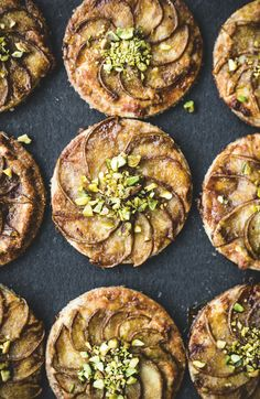 Pear, frangipane and caramel tartlets