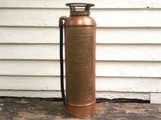 antique copper fire extinguisher 1917 patent by BlueRoverVintage