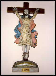 """St Wilgefortis"" St Wilgefortis aka Saint Uncumber is the Patron Saint of women who wish to be liberated (uncumbered) from abusive husbands. She miraculously grew a beard to escape an unwanted marriage. The St Wilgefortis narrative dates from the 14th century."