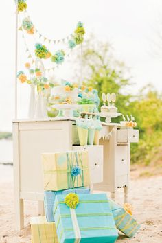 Gender neutral baby shower with gorgeous cake stands, favors and pom pom hanging decor. Mint, lime, yellow and pastel green set the tone for this beach side gorgeous baby shower. Idee Baby Shower, Mesas Para Baby Shower, Baby Shower Host, Shower Bebe, Shower Party, Baby Shower Parties, Baby Boy Shower, Baby Shower Gifts, Baby Gifts