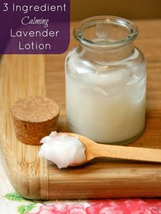 Learn how to make a simple homemade calming lavender lotion that requires only 3 ingredients! It's perfect for children and babies, too.