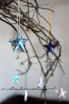 Lot de huit petites étoiles origami  par eteindiencreations sur Etsy