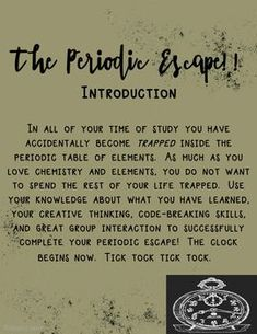 Escape the Room - Periodic Table for high school students. High School Chemistry, Chemistry Lessons, Teaching Chemistry, Science Chemistry, Middle School Science, Physical Science, Science Lessons, Stem Teaching, Chemistry Experiments