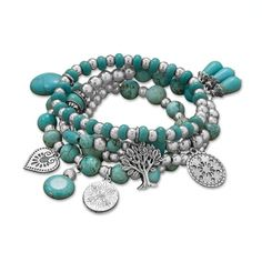 Set of 4 Multicharm Stretch Bracelets w/Turquoise - $39.00 - Handmade Handmade Supplies, Crafts and Unique Gifts by Bad B Creations
