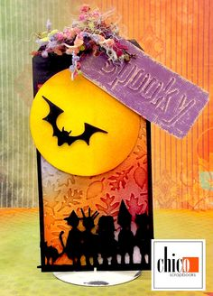 A fun tag using the Mini Bat Mover and Shaper die, Halloween Shadows Strip die, Shadow Press and Textured leaves embossing folders by Tim Holtz and Sizzix. Halloween Tags, Fall Halloween, Halloween Crafts, Halloween Decorations, Halloween Party, Tag Design, Fall Paper Crafts, Handmade Tags, Thanksgiving Cards