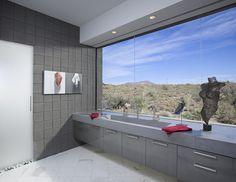 Modern Bathroom, Ultra Modern Bathroom, Contemporary Bathroom, Home Inspiration, Arizona Architecture, Nature Inspired Interior Ideas, Creative Decor, Desert Designs, Custom Home