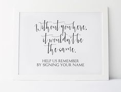 Without You Here It Wouldnt Be The Same, Please Sign, Sign Your Name, Reception Signs, Wedding Guest Book Sign, Wedding Signage,Wedding Sign
