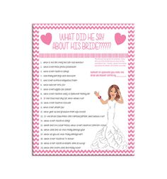 Bridal Shower Game What Did He Say Couple por TheVintagePen