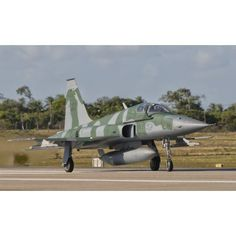 Brazilian Air Force F-5 at Natal Air Force Base Brazil Canvas Art - Giovanni CollaStocktrek Images (18 x 11)