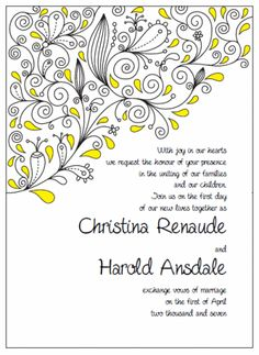 "Invitation 5"" x 7"" Portrait. Printable Wedding Invitations Paisley Christina Suite: Yellow and Black"