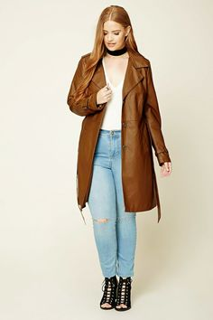 Forever 21+ - A midweight longline jacket crafted from faux leather with notched lapels, snap-button shoulder epaulettes, a button-down front, long sleeves with adjustable buckle accents, slanted front slip pockets, and a removable self-tie sash.
