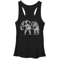 Chin Up Apparel Black Elephant Racerback Tank ($17) ❤ liked on Polyvore featuring tops, long tank tops, graphic tank, black racerback tank, long tank and cotton racerback tank tops