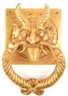 Big Demon Devil Door Knocker Handmade Brass Door Knocker Pull Knob Home Decor #Handmade