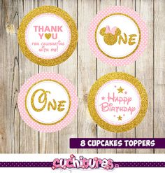 8 Minnie Mouse rosa y oro Primeros de la magdalena del brillo del oro Minnie Mouse Cupcake Toppers, Minnie Cake, Minnie Mouse Rosa, Mickey Mouse, Gold Cupcakes, Gold Cake Topper, Birthday Parties, Happy Birthday, Baby Shower