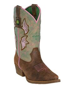 Loving this John Deere Brown & Sanded Green Leather Cowboy Boot on #zulily! #zulilyfinds
