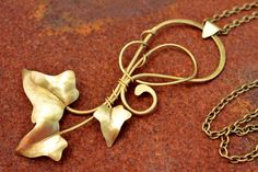 Ivy Leaves Pendant Hammered Brass Pendant Elfic Jewelry Ancient Greek Jewelry Handmade Jewelry Fantasy Necklace Elegant