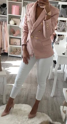 white and blush pink outfit : blazer + skinnies + heels