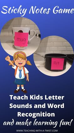 The Sticky Note Match game is an early and emergent reader activity that can be adjusted for both the child learning the sounds of the alphabet or reading beginning words. This fun and interactive early literacy activity gets little minds and bodies moving while practicing reading skills. #earlyliteracy #earlylearning