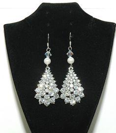 Rhinestones Teardrop Wedding Earrings Rhinestone Pearl Dangle Diamante J 28