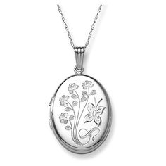 "Amazon.com: 14k White Gold Engraved Flowers Oval Locket, 20"": Jewelry"
