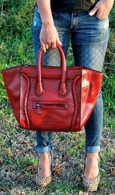 Leopard Print & Red Handbag