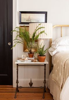 Love filling a side table with plants in terracotta pots!