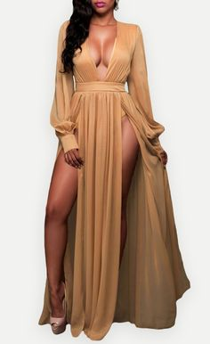 $44.99 Shimmer Mocha Slit Goddess Dress