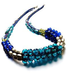 Style Necklace, Royal Blue and Green Beaded Statement Necklace - Fashion Necklaces - Jewelry & Watches - Macy's