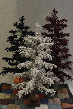 Wooly Pine trees. Made with textured wool fabric.