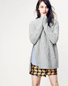 Crew women's side-zip cable sweater, end-on-end long shirt, and origami skirt in elephant parade. Especially the sweater! Origami Skirt, J Crew, Elephant Parade, Mode Inspiration, Fashion Inspiration, Couture, Holiday Dresses, Chic, Style Guides